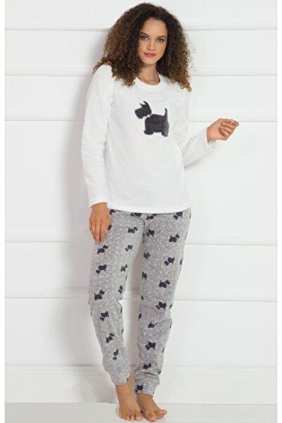 Ars Kadın Krem Renk Desenli Uzun Kol Polar Pijama Takımı
