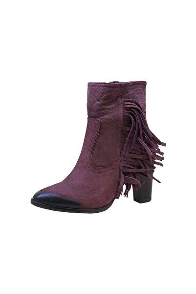 Mammamia 4175 Kadın Püsküllü Nubuk Topuklu Bot