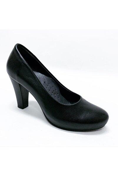 stok83 Kadın Siyah Hakiki Deri Stiletto Platform Ayakkabı