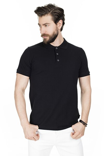 Buratti Erkek Siyah Düğmeli Polo Yaka Pamuklu Günlük T Shirt 4362050