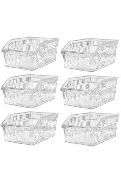 Sas Buzdolabı Sepeti Dolap Içi Düzenleyici Sepet Organizer 5 Adet Şeffaf Büyük Boy 30x20x13 Cm