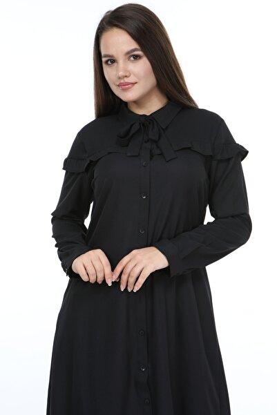 Manga Kadın Fırfırlı Tunik Siyah