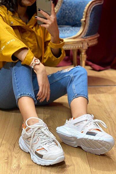 NOVELYA Beyaz Turuncu Çizgili Track Yüksek Taban Unisex Sneakers Ayakkabı