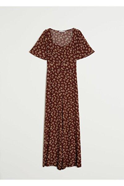 MANGO Woman Kadın Çikolata Çiçekli Uzun Tulum 77082512