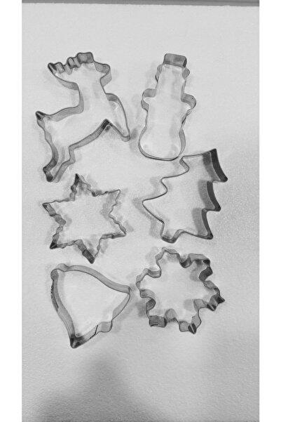 Pozitif Metal Kurabiye Şekilleri Yılbaşı Konseptli Geyik Kardanada,yıldız, Çam, Çan Kartanesi