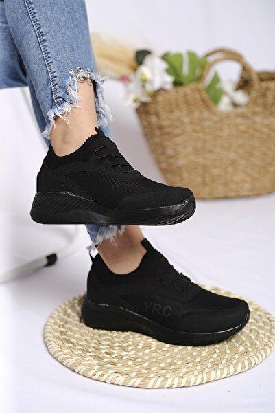 Oksit Yrc Bağcık Detaylı Fileli Kalın Taban Kadın Sneaker