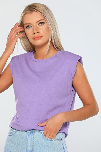 julude Kadın Lila Omuzları Vatkalı Kısa Kol T-shirt