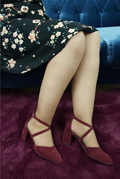 TREND Kadın Bordo Topuklu Ayakkabı Süet  O 17