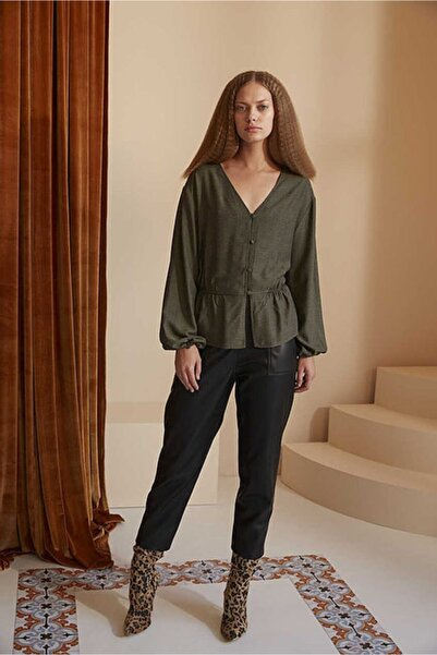 Ribellion Kadın Haki Eteği Volanlı Bluz
