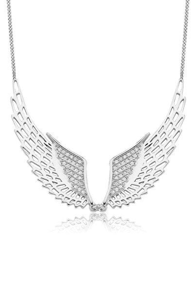 Valori Jewels Gösterişli Melek Kanadı, Swarovski Zirkon Beyaz Taşlı, Gümüş Kolye