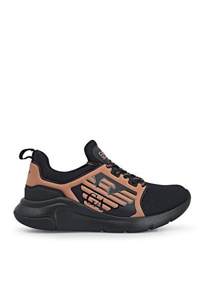 EA7 Kadın Siyah Kahverengi Desenli Sneaker Ayakkabı