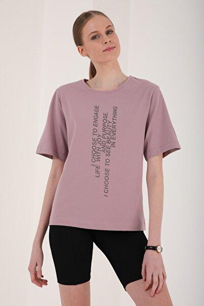 Tommy Life Kadın Gül Kurusu Dikey Yazı Baskılı Oversize O Yaka T-shirt