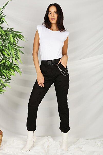 Select Moda Kadın Siyah Kemerli Zincir Detaylı Paçası Lastikli Kargo Pantolon