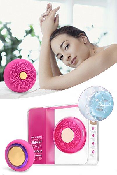 xolo Smart Mask Ultrasonik Maske Uygulama Cihazı Işık Terapi Titreşimli Fuşya Peeling Masaj Cihazı