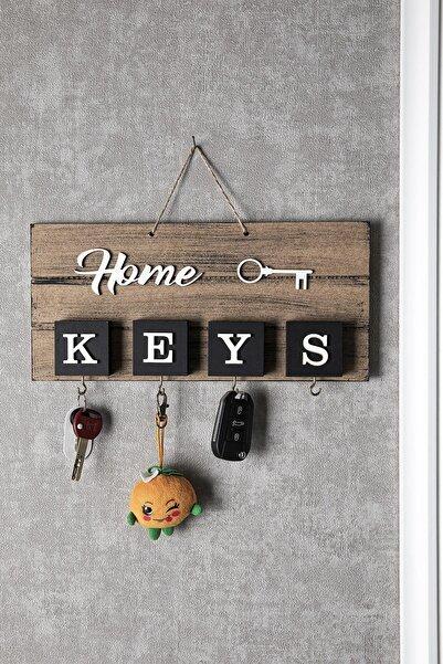 Doreline Home Keys El Yapımı Ahşap Anahtar Askısı, Pano Anahtarlık Naturel Renk