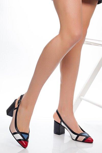 Deripabuc Kadın Pudra Beyaz Hakiki Deri Topuklu Ayakkabı SHN-0075