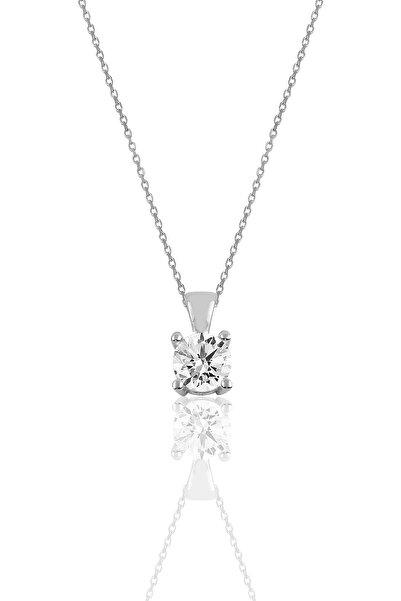 Söğütlü Silver Gümüş Pırlanta Modeli Tek Taş Kolye