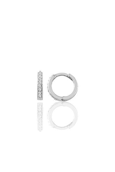 Söğütlü Silver Gümüş 12 Mm Zirkon Taşlı Halka Küpe