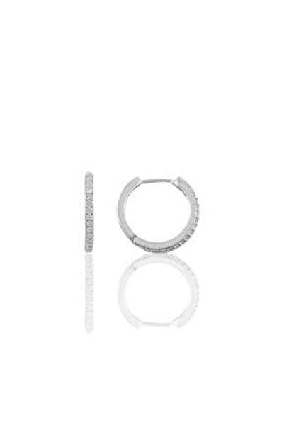 Gümüş 14 Mm Rodyumlu Zirkon Taşlı Tamtur Halka Küpe