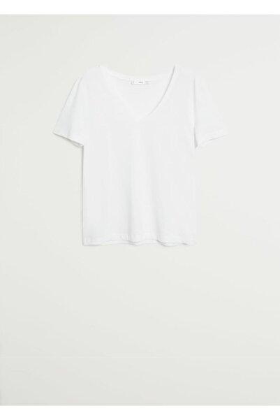 MANGO Woman Kadın Kırık Beyaz V Yakalı Pamuklu Tişört 77060531