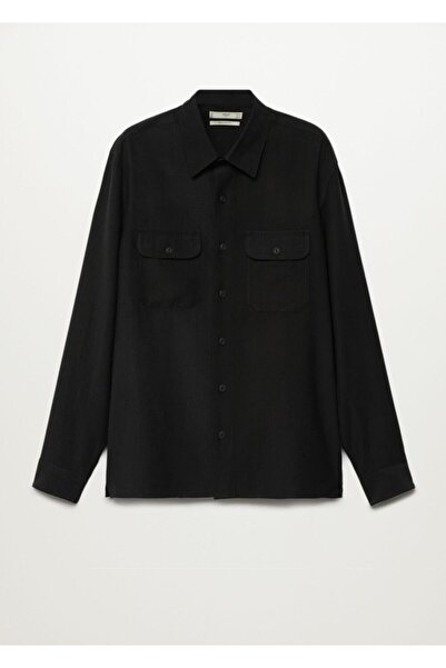 MANGO Man Erkek Siyah Regular Kesim Gömlek