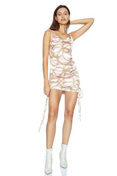 Keikei Kadın Bej Saten Kolsuz Kısa Elbise Desenv37