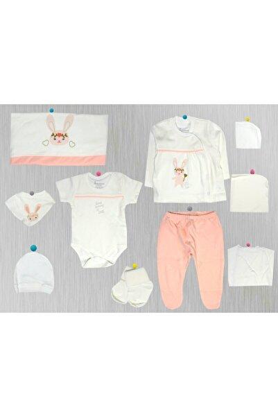 Bebbek Kız Bebek Somon Hello Rabbit 10'lu Zıbın Set Yeni Doğan Hastane Çıkışı -somon