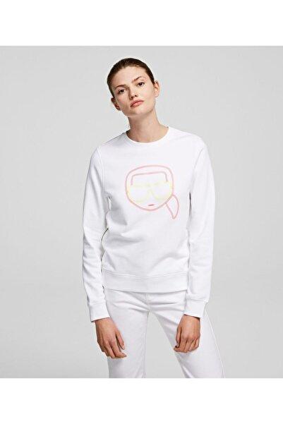 Karl Lagerfeld Kadın Beyaz Neon Sweatshırt