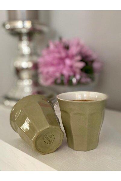 Zade Coffee Bean Porselen Haki Yeşil Expresso Bardakları