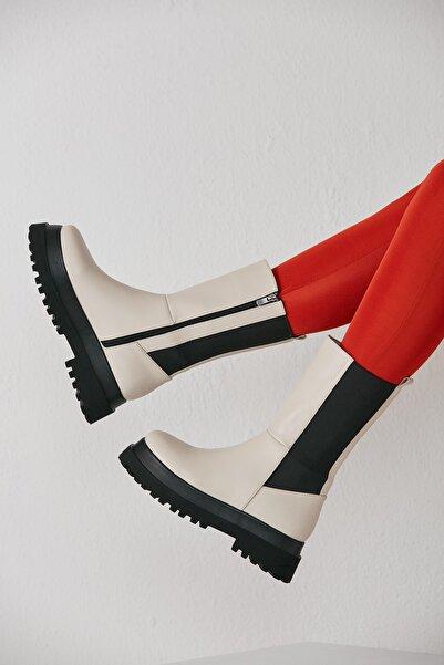 grazia shoes Kadın Suni Ekru Chelsea Bot 21kkgrz2-1027