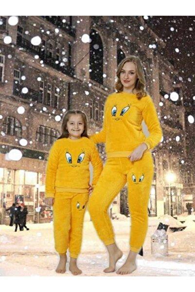 Manolya Kadın Sarı Peluş Twetty Pijama Takımı