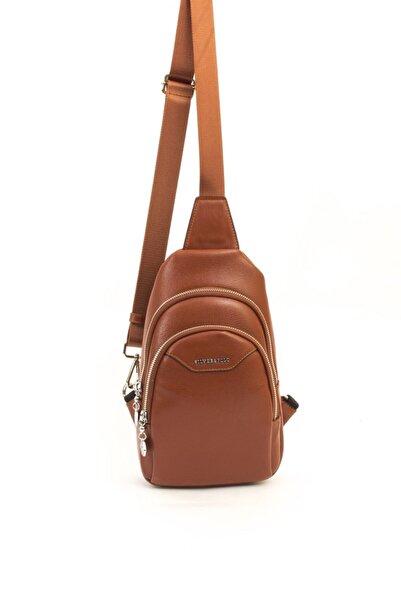 Silver Polo Kadın Taba Renk  Freebag Bodybag Önden Takmalı Çanta 3 Bölmeli
