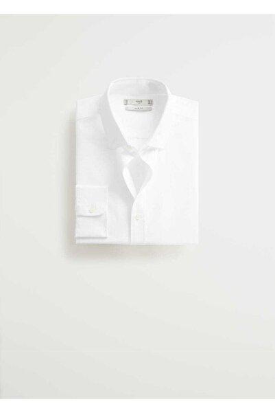 MANGO Man Erkek Beyaz Gömlek