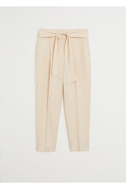 MANGO Woman Kadın Ekrü Kuşak Kemerli Pantolon 67029208
