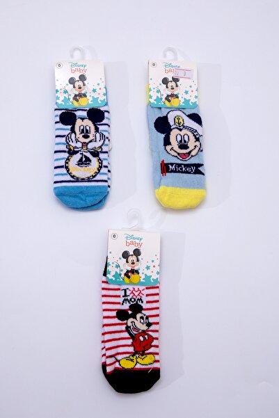 Mickey Mouse Erkek Bebek Mavi Beyaz Üçlü Soket Çorap 15987