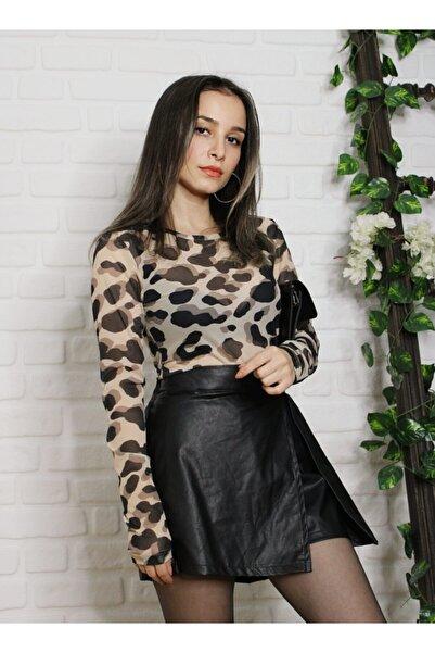 Quzu Kadın Leopar Desenli Bluz