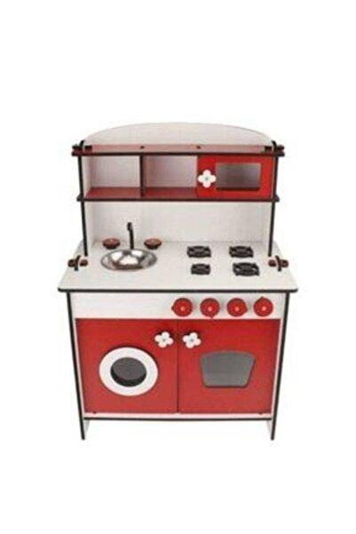 Ahşap Oyuncakların Kırmızı Küçük Mutfak Seti