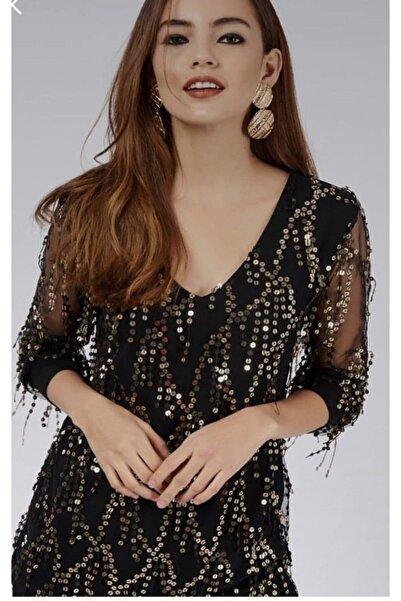 Modalizza Giyim Kadın Siyah Gold Payet Detaylı Blu