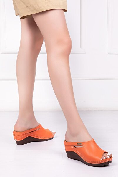 Deripabuc Kadın Orange Hakiki Deri Deri Terlik DP16-1001