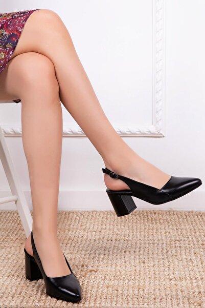 Deripabuc Kadın Siyah Hakiki Deri Topuklu Deri Ayakkabı SHN-0730