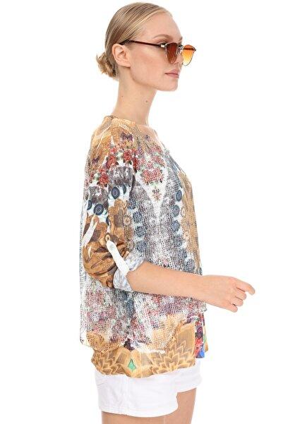 Luısıdo Kadın Turuncu Standart Beden Yuvarlak Yaka Kol Çiçek Baskılı Bluz