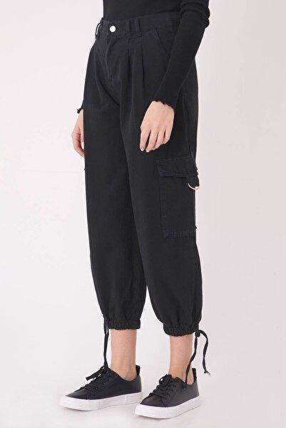Addax Kadın Siyah Kargo Pantolon PN4373 - PNT ADX-0000023601