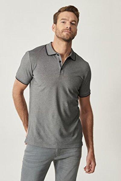 Erkek Siyah Düğmeli Polo Yaka Cepsiz Slim Fit Dar Kesim Düz Tişört