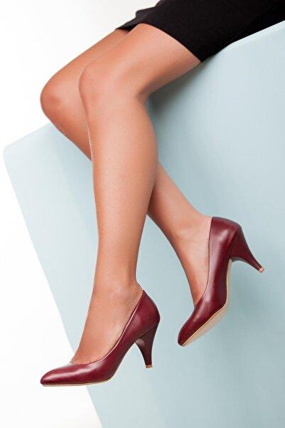 Deripabuc Hakiki Deri Bordo Kadın Topuklu Deri Ayakkabı TRC-0301