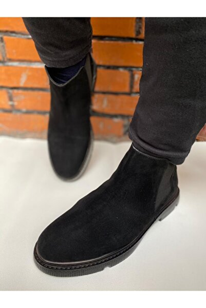 By ÖRS shoes Unisex Siyah Süet Chelsea Kışlık Bot