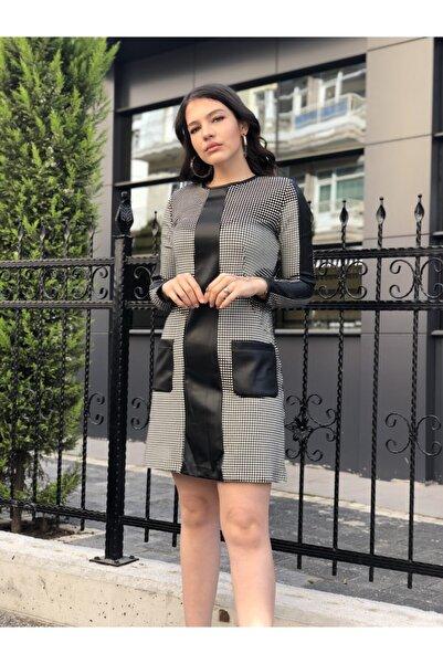 AYHAN Kadın Deri Detaylı Puantiyeli Elbise