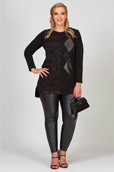 Femina Kadın Siyah Pul Boncuk Ve Deri Detaylı Triko Tunik Bluz