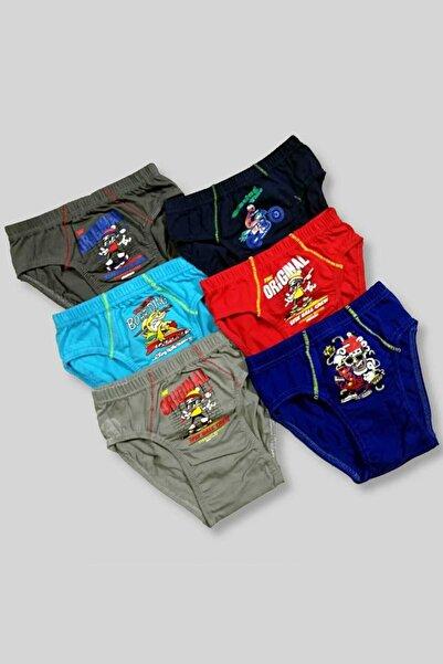 Tutku Erkek Çocuk Çok Renkli 12'li Paket 0138 Elastan Pamuk Baskılı Külot Kilot