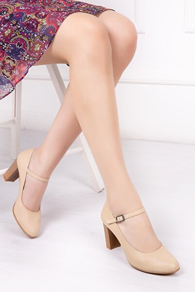 Deripabuc Hakiki Deri Bej Kadın Topuklu Deri Ayakkabı SHN-0278