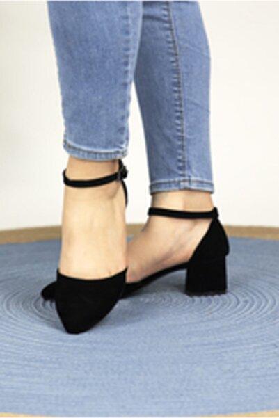 Oioi Kadın Siyah Süet  Topuklu Ayakkabı 1006-119-0002_1100